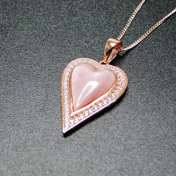 best selling Hot Selling Mother Of Pearl Jewelry 925 Sterling Silver Natural Pink MOP Heart Womens Pendant Necklace For Gift