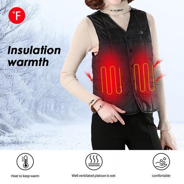Thermostat Intelligent Veste Électrique De Mode Col En V Usb Recharge Chaud Hommes Et Femmes Modèles Température Réglable Veste Électrique