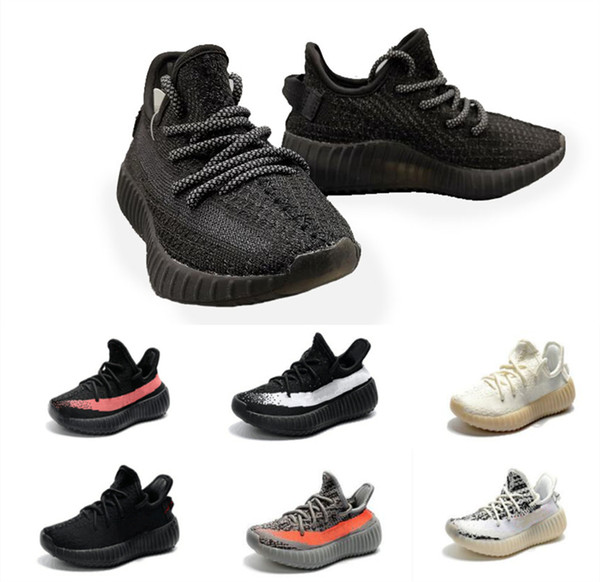 top popular 2019 Baby Kid Clay V2 Running Shoes Kanye West Blakc Static 3M Reflective Zebra Beluga 2.0 Boy Girl Sport Sneakers 2020
