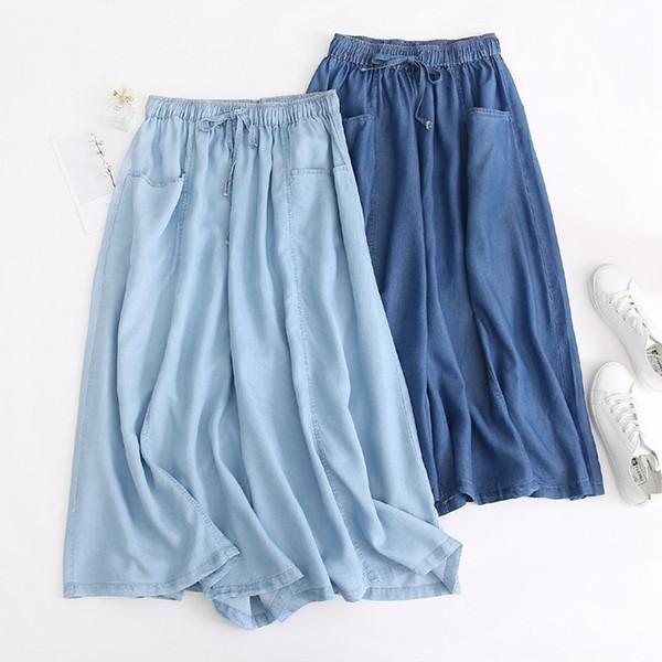 2019 Nuovi jeans casual a vita alta Harajuku per donna Pantaloni in denim di cotone estivo Tancel Pantaloni Pantaloni alla caviglia Jeans a gamba larga Donna