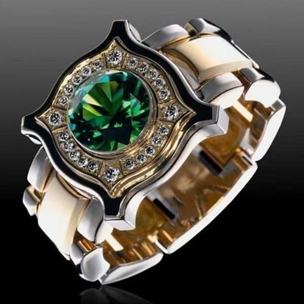 Мода мужская 18K золото круглый вырезать натуральный изумруд нефрита кольцо уникальный дизайн европейский и американский стиль мужской наездник партия группа обручальное кольцо