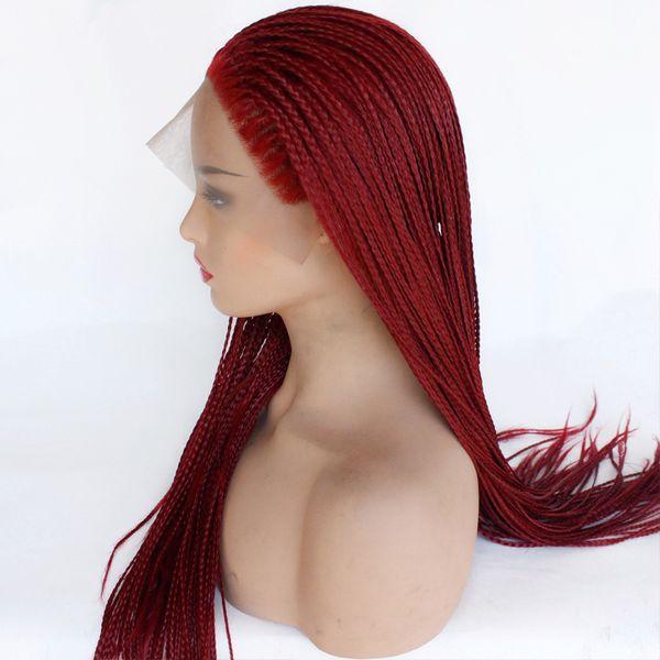 Geflochtene Spitze Perücken Red Hair für schwarze Frauen synthetische hitzebeständige langen Zöpfen Perücke Glueless Halb Hand gebunden