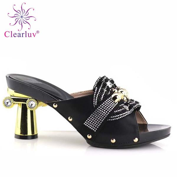 Sapatos Mulher Sapatos de Salto Alto Designer de Luxo Mulheres 2019 Deslizamento em Mulheres Decoradas com Strass Casamento para Wome # 37560