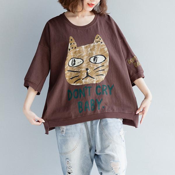 Johnature Summer New O-cuello Color sólido Tops 2019 Mujeres Media manga Animal Print Irregular Loose 3 Color Casual Camisetas Y19072001