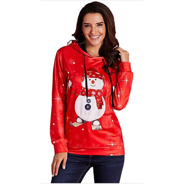 Kawaii Longues Imprimé Capuche Acheter Femmes Neige Manches À De Pour Sweats Bonhomme Noël Sweat Pull Flocon Père Motif cAS354RLjq