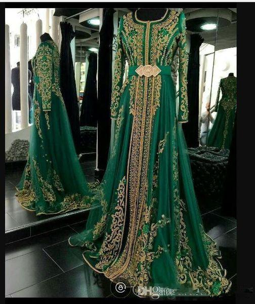 2019 vert émeraude musulman robes de soirée formelles manches longues Abaya Designs Dubaï robes de soirée turques pas cher caftan marocain