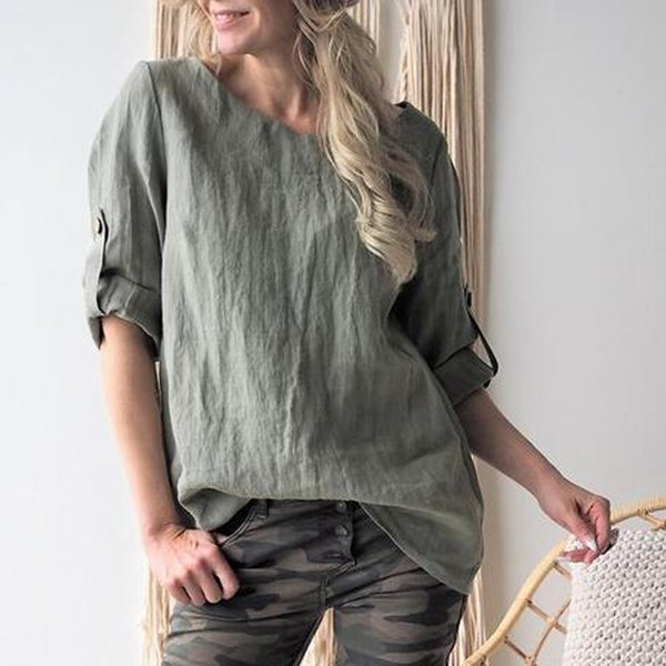 Linen blouses for Womens 2019 Lafies Casual Solid Middle Sleeve O-neck Loose Vintage shirts Plus Size 5XL Top Half Blouses@35