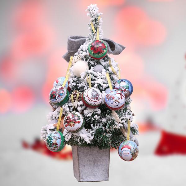 Suministros navideños para la navidad Caja de almacenamiento de lata de hierro redondo Estilo de caja de regalo de Candy Chic Vacía Estilo Aleatorio