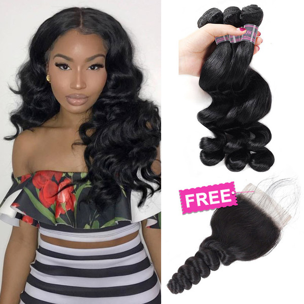 Big Sale Promotion Buy 3 Bundles Brazilian Loose Wave Unprocessed Peruvian Human Hair Bundles Get One Free Closure Free Part