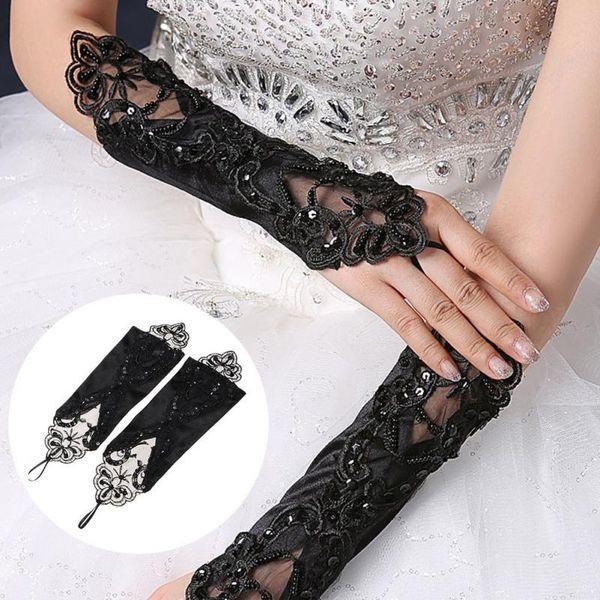 2pcs / paires Gants de dentelle avec perles femmes Black Black Fingerless Gloves garder au chaud 28cm de long dames élégantes