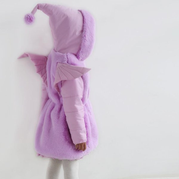 2019 Winter Faux Fur Coat Parkas For Girls Pink Thicken Warm Hooded Patchwork Fur Jacket Kids Clothes Children's Outwear Y41