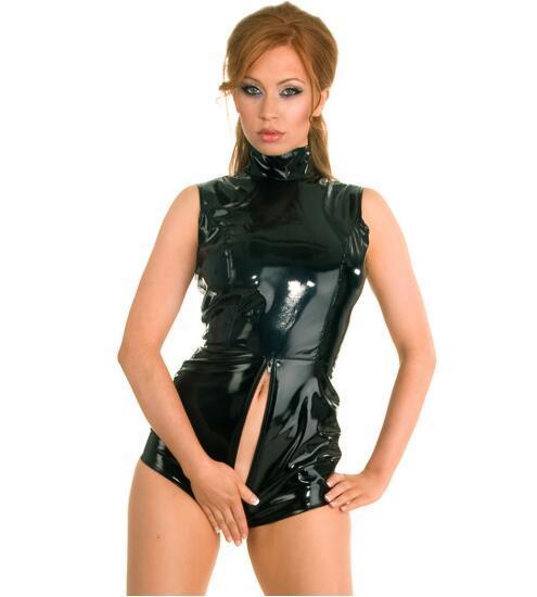 Black Latex PVC Bodysuit Cat Women Faux Leather Catsuit Erotic Wet Look Bodycon Punk Fetish Lingerie Sexy Club Jumpsuit Costume