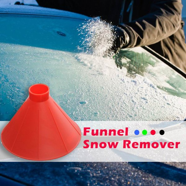 1 pc 4 colors car windshield snow shoveling brush fuel funnel automobile glass snow remover cone ice scraper remover deicing too thumbnail
