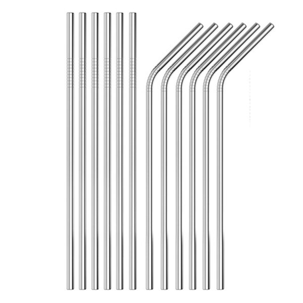 best selling 10.5 inch 267mm Bent and Straight 304 stainless steel straw and cleaning brush reusable drinking straw bar drinking tool
