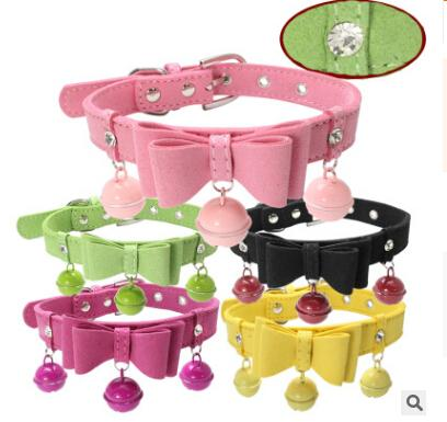 Double Layer Bow Tie Dog Collar Rhinestone Bling Bell Pet Necklace Fashion Lovely Small Dog Cat Bowknot Collars Puppy Teddy Kitten Necklaces