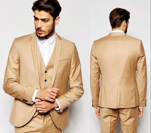 New Fashion Gold Wedding Abiti Custom Made Handsome Slim Fit Uomo Abiti Smoking dello sposo Abiti formali per feste (Giacca + Pantaloni + Gilet)