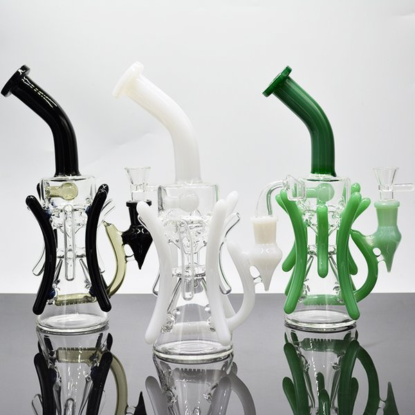 12 inch black dab rig with glass bowl green white recycler oil rig glass water pipe inline perc glass bongs
