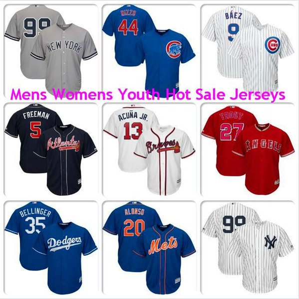 Mens Woman Kids Cody Bellinger Mike Trout Aaron Judge Javier Baez Anthony Rizzo Pete Alonso Los Angeles Dodgers Angels baseball jerseys new