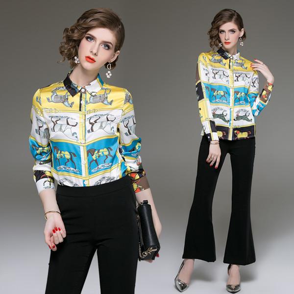 Новый стиль весна осень взлетно-посадочная полоса печатных рубашки Женские с длинным рукавом отворотом шеи блузки офис леди бизнес роскошный тонкий плюс размер рубашки топы