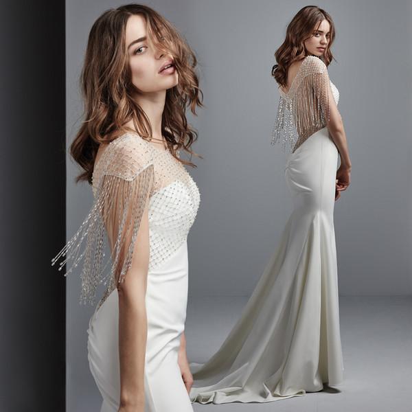 2020 borlas blancas sirena vestido de novia sexy Bateau espalda abierta barrer tren playa bohemio vestido de novia