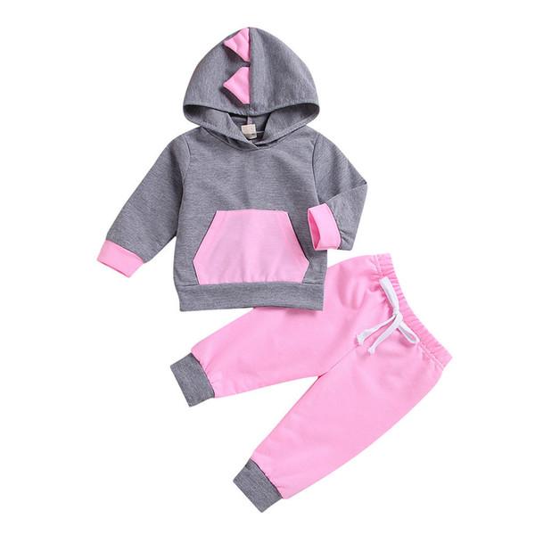 Boa qualidade Bebê Recém-nascido Roupas Set 2 PCS 3D Dinossauro Com Capuz Tops T-shirt Calças Leggings Outfit Roupas conjunto infantil roupas