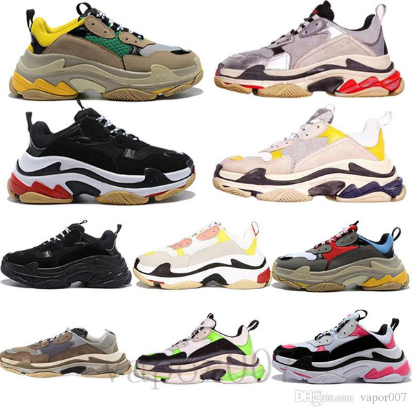 top popular 2019 triple S old dad shoes tripler sneakers green clear sole chaussures retro scarpe women zapatos men hommes hombre zapatillas mens 2019