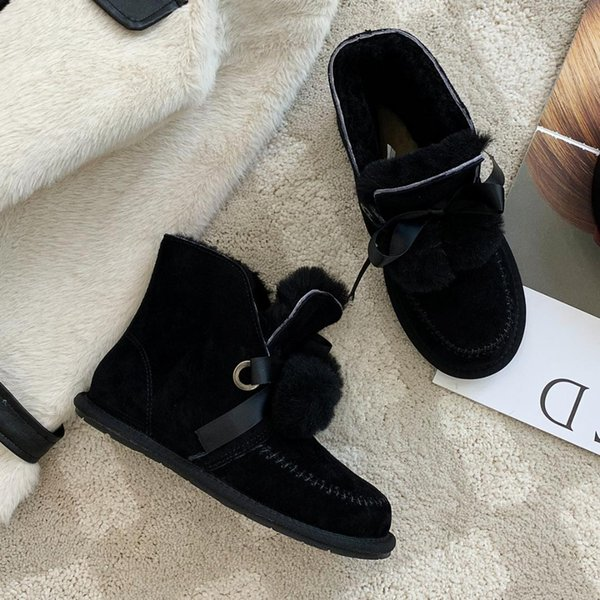 women's natural suede leather lace-up flats snow boots cold weather riband fur ball cute female short ankle boots warm wool shoe