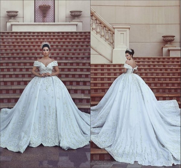 2020 New Said Mhamad Ball Gown Wedding Dresses Off Shoulder Lace Appliques Beaded Hand made Flowers Corset Back Chapel Train Bridal Gowns