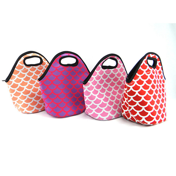Mermaid Waterproof Tote Lunch Bag Student Children Women Fashion Striped Large Capacity Food Picnic Lunch Bags RRA759