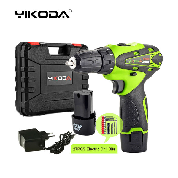 top popular 12v cordless drill electric screwdriver 2pcs lithium battery screwdriver double speed battery drill plastic case drill bit accessories 2021