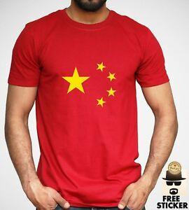 Китай Флаг футболка Китайский Страна Логотип Короткие SShirtve Взрослых Мужская Красный Топ S XXL