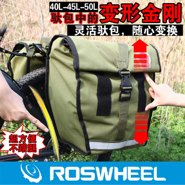 Retro Canvas Bicycle Carrier Bag 50L Rear Rack Trunk Bike Luggage Back Seat USA