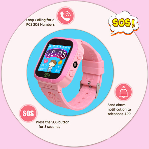 Niños Smart Touch Screen Reloj de pulsera Seguridad Anti-perdida LBS Healthy Tracker SIM Call SOS Sport Baby Safety Alarm Smart Watch