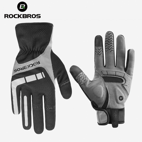 RockBros Autumn Winter Warm Long Full Finger Gloves Touch Screen Gloves Blue