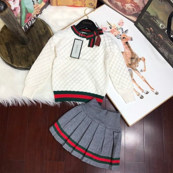 Two Piece Dresses Children's Garment Girl Autumn Baby Clothing Set 2019 New Pattern Korean Children Child Western Style Sweater Suit 092003