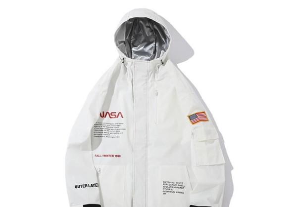 Forma-3M reflexiva NASA jaquetas casuais Branco Preto Windbreaker Waterproof Designer Jacket Coats Outono Inverno