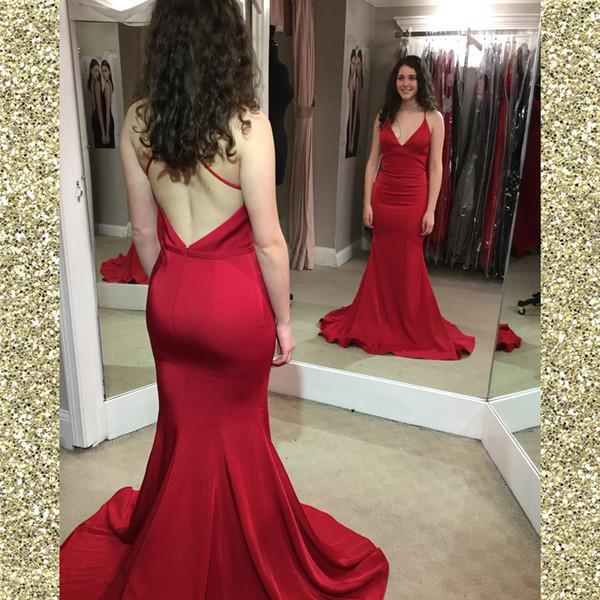 Cintas de espaguete cetim sereia baratos Vestidos Red Prom longo apertado vestidos de festa Trem da varredura Criss Cross Voltar Cheap formal Vestidos on-line