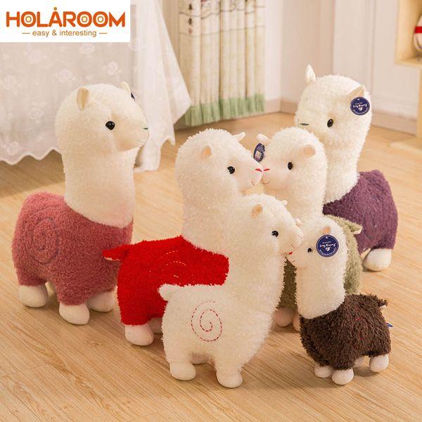 HOLAROOM bonito Alpaca Plush Toys Kawaii bichos de pelúcia 28/38 / 46/50 centímetros dos desenhos animados Alpaca Plush Doll Crianças Presente de Natal para crianças