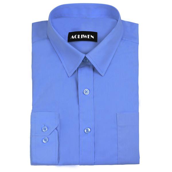 Aoliwen 2019 hommes à manches longues en flanelle couleur unie chemise habillée décontractée blanc bleu masculin tops marque-performance prix chemise coton