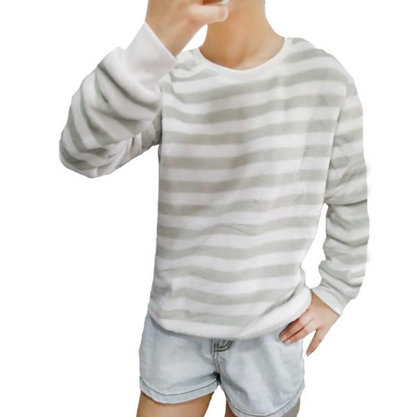 Fashion Green Stripe Harajuku Women Hoodies Sweatshirt Winter Warm High Quality Flannel Pullover Girl Tops