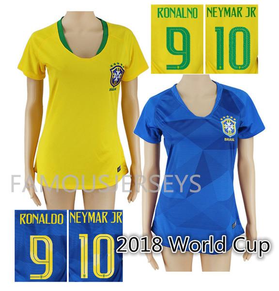 fe697bc62 Thai quality women s 2018 world cup Brasil Soccer Jerseys Home away Shirt  and short  10 Neymar JR Paulinh Marcelo Pele Coutinho Firmino KAKA