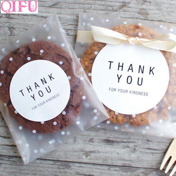 QIFU 100 pcs Petits Sacs En Plastique Transparent Cellophane Sac Anniversaire Goodies En Plastique Transparent Cadeau Bonbons Biscuits Sacs À Pois