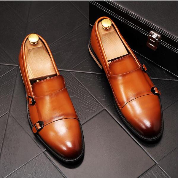 Nouvel ensemble de chaussures de cuir chevelu britannique vent robe business casual chaussures respirant chaussures hommes jeunes mariés