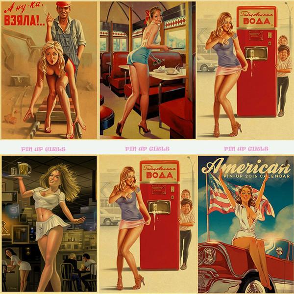 Pittura murale tableau Classic Vintage la Seconda Guerra Mondiale Sexy Pin Up Girl carta Poster parete per Living Room bar