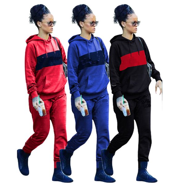 2019 Brand Designer Women Outfits Stitching Long Sleeve Hoodie+Leggings 2pcs Set Bodycon Pullover Pants Tracksuit Jogger Tights Sweatsuit