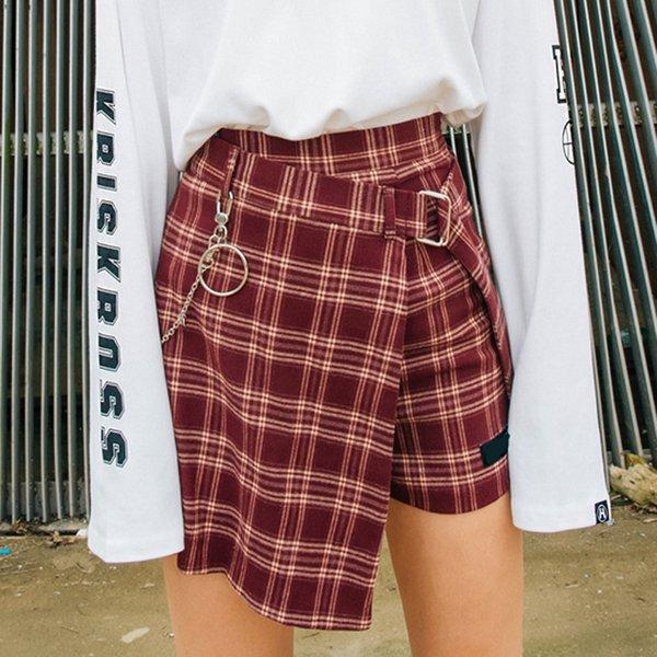 Fashion Spring Autumn New Women's Woolen Shorts Skirt Sashes Mini Skirts Plaid Slim England Style Empire Ladies Summer Shorts T5190617