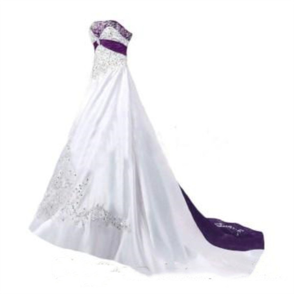 Vintage Purple And White Wedding Dresses New 2019 Applique Embroidery Strapless A Line Long Formal Bridal Gowns Back Lace Up Corset Cheap