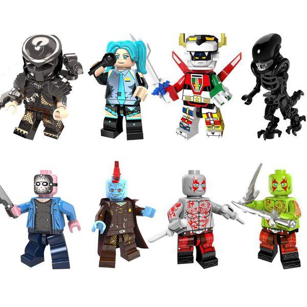 Filme Mini Toy Figura Drax Jason Voorhees Yondu Predator estrangeiro Voltron Hatsune Miku Building Block tijolo