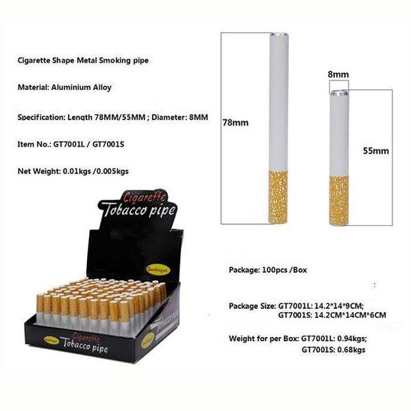 Popolare 55 millimetri 78 millimetri in lega di alluminio Forma Il fumo di sigaretta tubo di metallo Tubi 100pcs / Box Purini Bat fumo del tubo di tabacco con la scatola di vendita al dettaglio