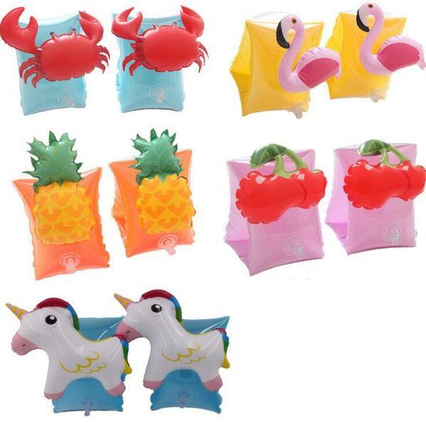 Baby Arm Schwimmring Kinderkrabbe Einhorn Aufblasbare Float Schwimmen Kreis Ananas Erdbeere Strand Float Ring OOA6356